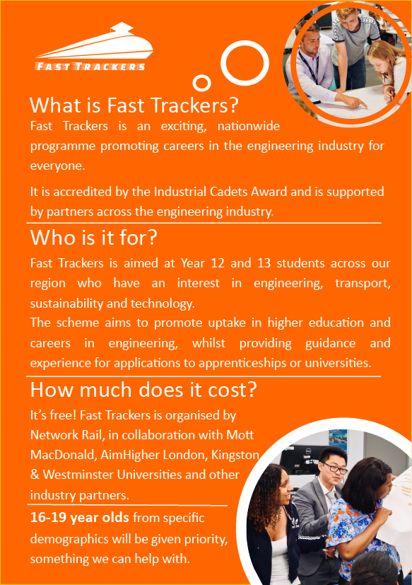 Orange poster image explaining Fast Trackers employability oppportunity.